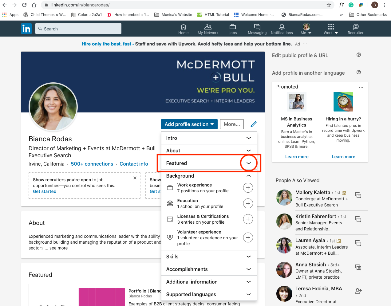 LinkedIn Profile Featured Section